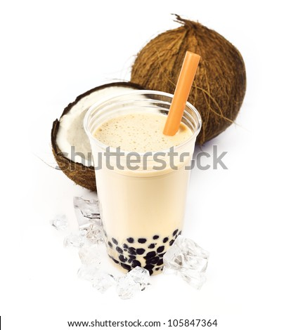 Coconut Boba Bubble Tea with fruits and crushed ice. - stock photo
