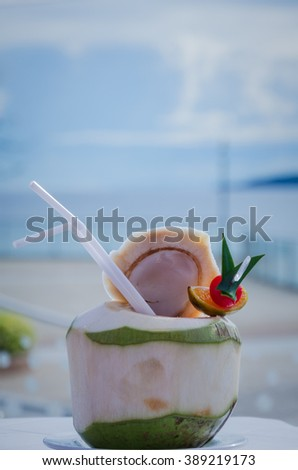 Coconut cocktail drink.