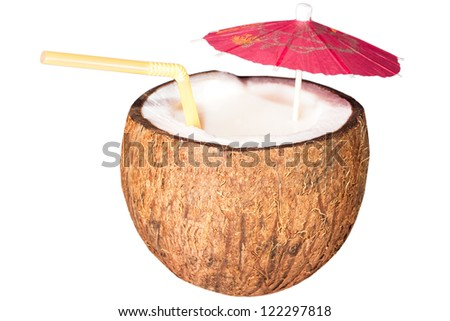Coconut cocktail isolated on white background - stock photo