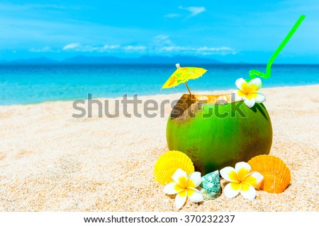 Coconut cocktail on Caribbean beach