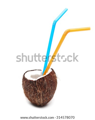 Coconut cocktail with two straws isolated on white - stock photo