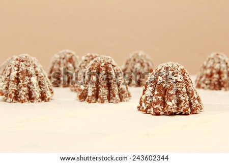 Coconut cookies, Close up view of chocolate candies covered with coconut powder - stock photo