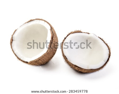 coconut cut in half on white background