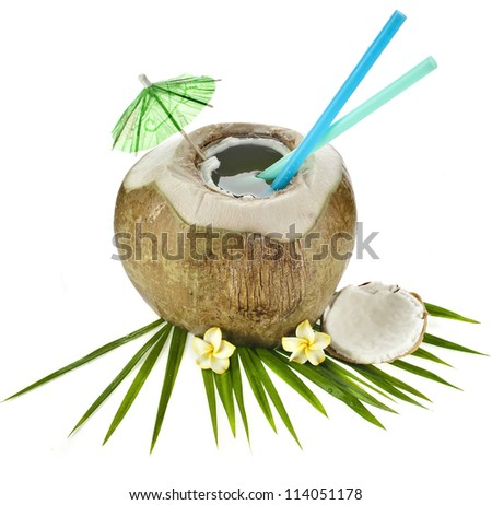 Coconut drink with a straw isolated on white background - stock photo