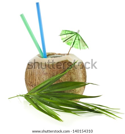 Coconut drink with a straws isolated on white background - stock photo