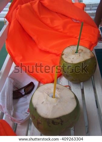 Coconut drinks natureally - stock photo