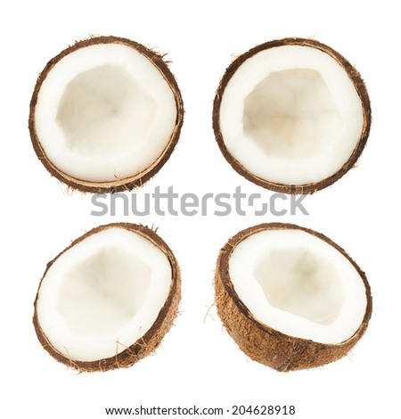 Coconut fruit cut in half isolated over the white background, set of four images - stock photo