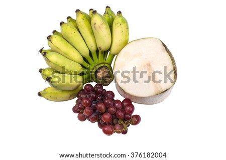 Coconut ,grape and banana isolated on white background.(top view)