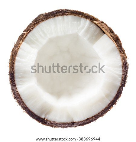 Coconut. Half isolated on white background. Top view.