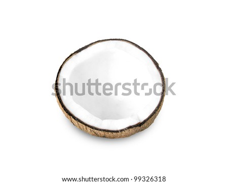 Coconut half on a white background - stock photo