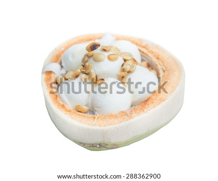 coconut Ice Cream with nuts isolated on white background - stock photo