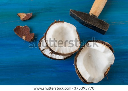 Coconut in the blue background - stock photo