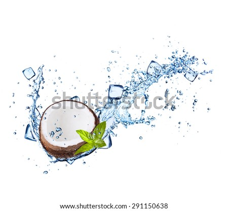Coconut in with water splashes and ice cubes isolated on white background - stock photo