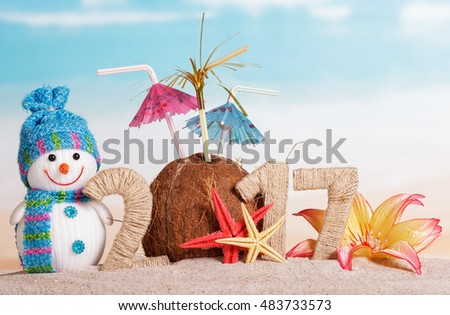 Coconut instead of the number 0 in the amount of 2017, snowman, starfish and flower in the sand against the sea.