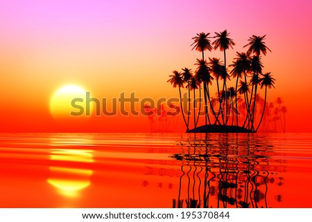 coconut islands at pink sunset over tropic sea - stock photo