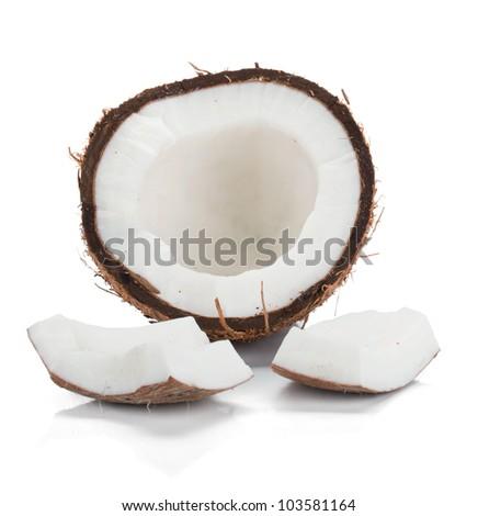 Coconut. Isolated on white background - stock photo