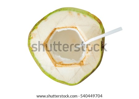 Coconut juice isolated on white background.Top view