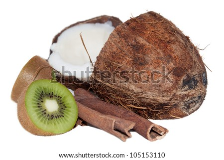Coconut, kiwi, cinnamon on the white background - stock photo