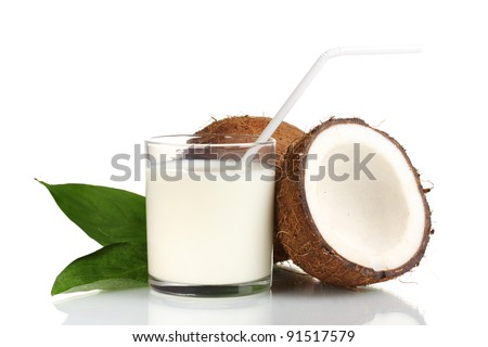 Coconut milk and coconut isolated on white - stock photo