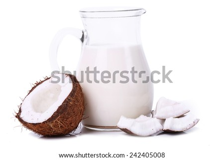 Coconut milk on a white background - stock photo