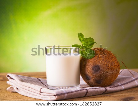 coconut milk on wood