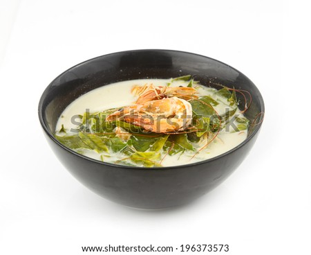 Coconut milk soup with shrimp and gnetum gnemon ,tropical vegetable in the south of Thailand