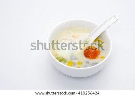 Coconut Milk with Bua Loy on white background