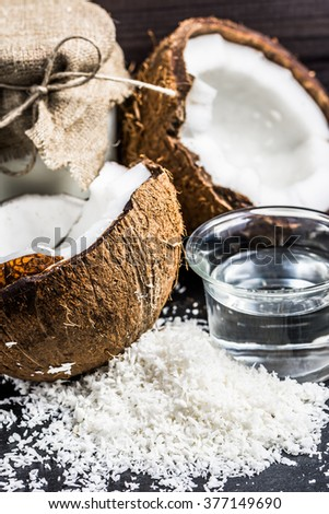 Coconut oil and coconut milk for alternative therapy - stock photo