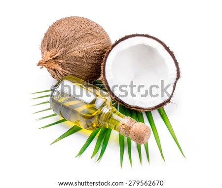 Coconut oil for alternative therapy on white backgroung.