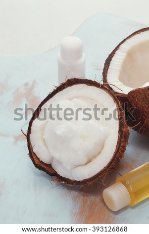 Coconut oil Skin Care. Organic and natural spa treatment ingredients and products. Macro selective focus, vintage toned image.     - stock photo