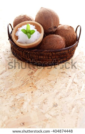 coconut oil with fresh coconut - food and drink - stock photo