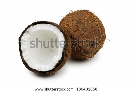 coconut opened on white