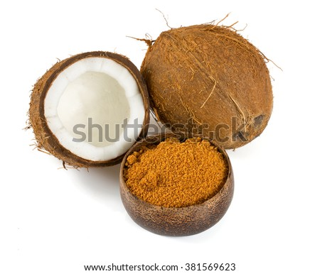 coconut palm sugar isolated on white
