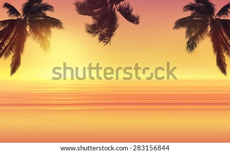 Coconut palm tree and sunset ocean landscape. Tropical paradise. Panoramic view. - stock photo