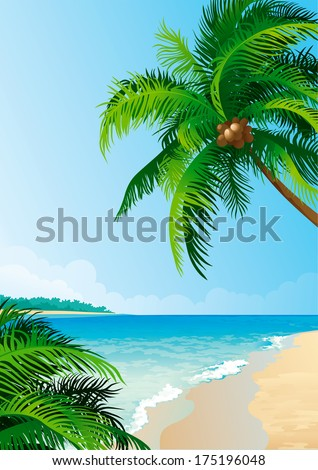 Coconut palm tree. Illustration  of coconut palm trees on tropical coast  - Vertical format.  - stock photo