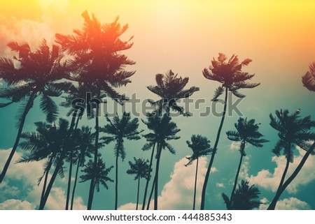 Coconut palm trees on tropical ocean beach, vintage toned and retro color stylized with film light leaks
