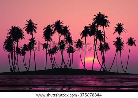 coconut palms at pink tropical sunset over calm sea - stock photo