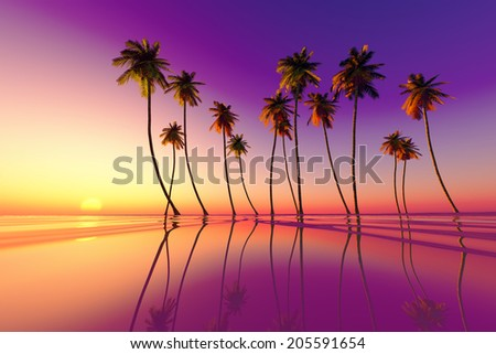 coconut palms at purple tropical sunset over calm sea - stock photo