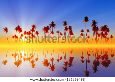coconut palms at sunset over tropic sea - stock photo