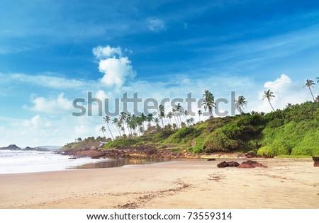 Coconut palms on the ocean sand beach - stock photo
