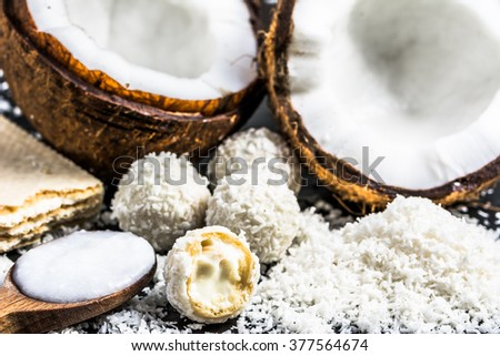 Coconut products: coconut oil and coconut sweets - stock photo