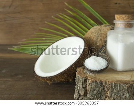 Coconut salt used in skin care and spa; Spa concept.