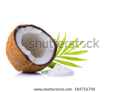 coconut, shredded coconut, and coconut cream on white background