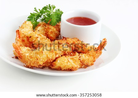 Coconut shrimp is baked rather than fried which makes for a healthier entrée or appetizer
