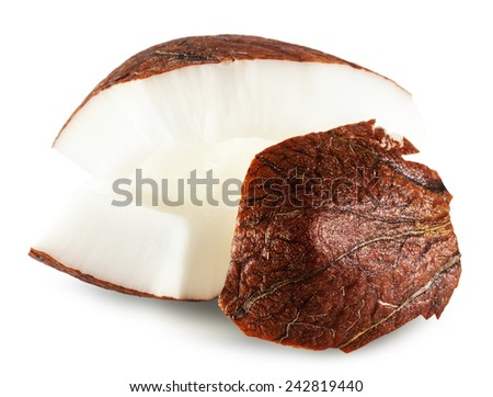 coconut slices isolated on the white background