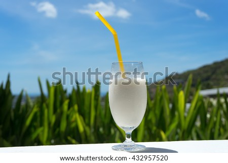 coconut smoothie, coconut cocktail - stock photo