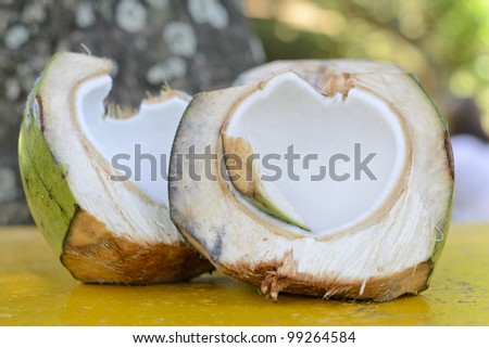 Coconut - Tropical green coconut opened for the flesh. - stock photo