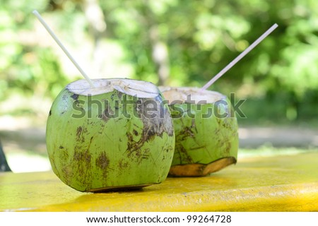 Coconut - Tropical green coconuts opened for the drinking water with straws. - stock photo