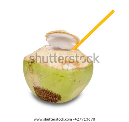 Coconut Water Drink  isolated on white background,clipping path - stock photo