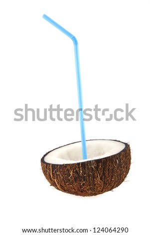 coconut with a straw on a white background